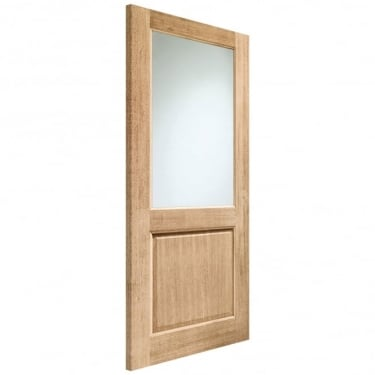 External Oak Unfinished 2XG 1L Door with Double Glazed Clear Glass (DGOXG-44)