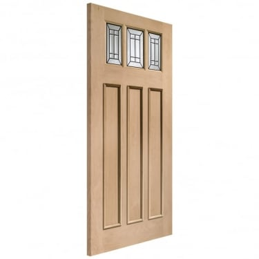External Oak Unfinished Balmoral 3L Door with Triple Glazed Black Camed Glass (TGOBALM)