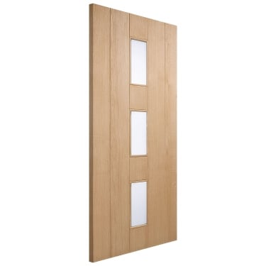 External Oak Unfinished Copenhagen 3L Door with Double Glazed Frosted Glass (COPOAK)