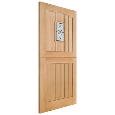 External Oak Unfinished Cottage 1L Stable Door with Double Glazed Leaded Glass (OCOTTSTA)