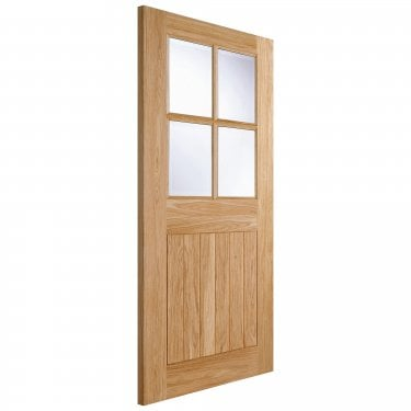 External Oak Unfinished Cottage 4L Door with Double Glazed Clear Glass (O4LITE)