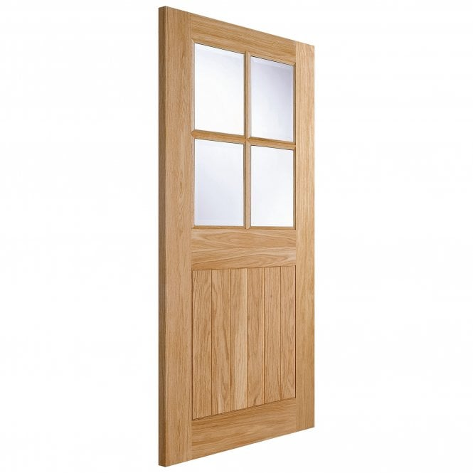 LPD Doors External Oak Unfinished Cottage 4L Door with Double Glazed Clear Glass
