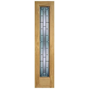 External Oak Unfinished Granada 1L Sidelight with Double Glazed Leaded Glass (OSLGRA)
