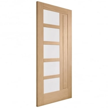 External Oak Unfinished Lucca 5L Door with Double Glazed Obscure Glass (DGOLUC)