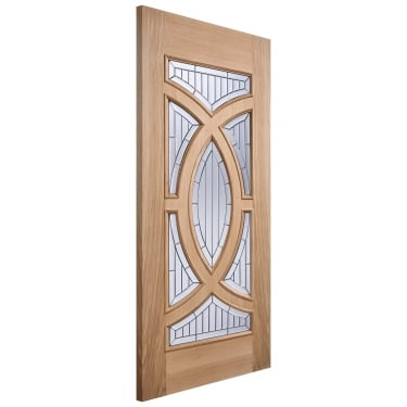 External Oak Unfinished Majestic 7L Door with Double Glazed Zinc Clear Bevelled Glass (MAJOAK)