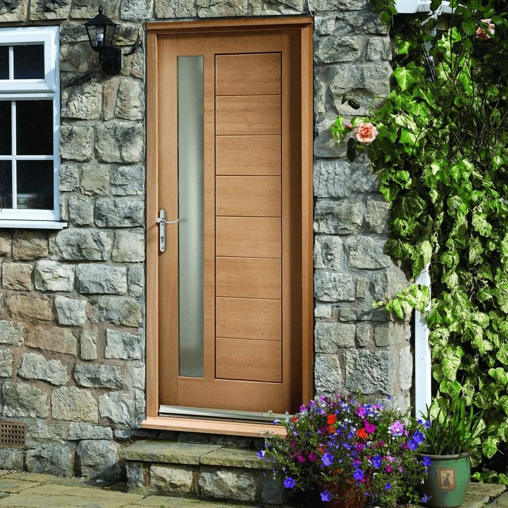 External Oak Unfinished Modena 1l Door With Double Glazed Obscure Glass Dgomod
