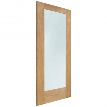 External Oak Unfinished Pattern 10 1L Door with Double Glazed Clear Glass (DGOP10-44)