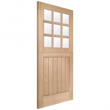 External Oak Unfinished Stable 9L Door with Double Glazed Clear Glass (DGOSTA9L)