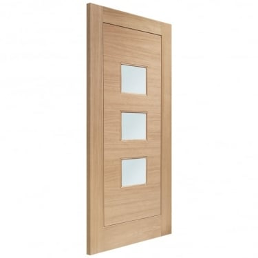 External Oak Unfinished Turin 3L Door with Double Glazed Obscure Glass (MTOTURDG)