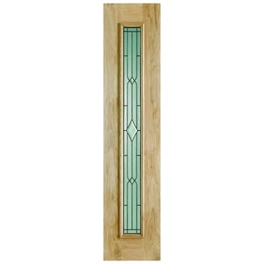 External Oak Unfinished Universal 1L Sidelight with Double Glazed Leaded Glass (OSLL)