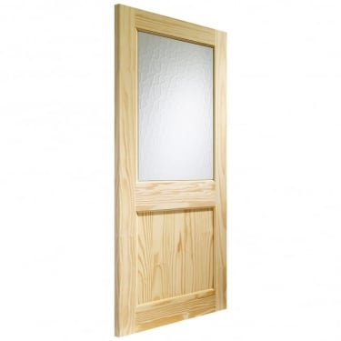 External Pine Unfinished 2XG 1L Door with Flemished Glass (PFGXG)