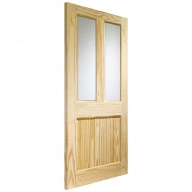 External Pine Unfinished Malton 2L Door with Flemished Glass