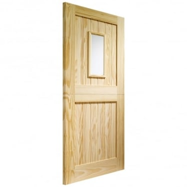 External Pine Unfinished Stable 1L Door with Clear Glass