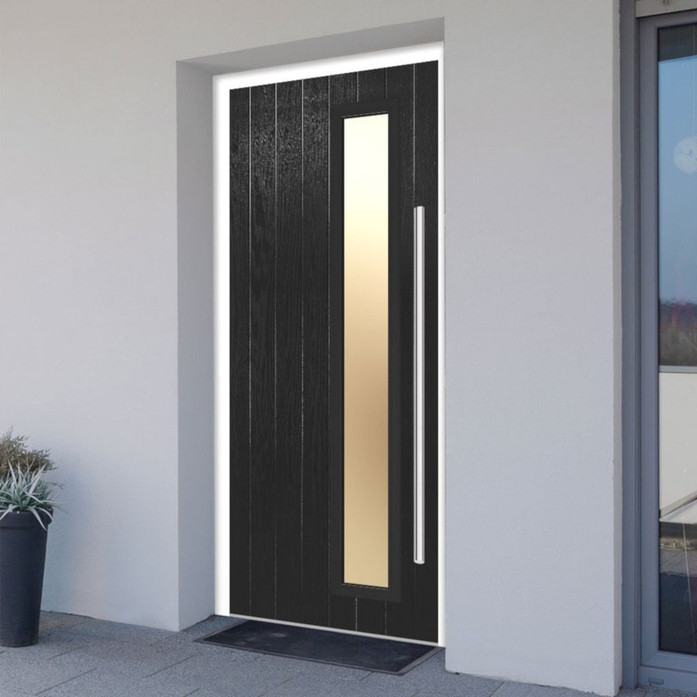best website 23ae7 b06ab External Shardlow Black Fully Finished 1L Composite Door Set with Double  Glazed Satin Glass (SHABLA)