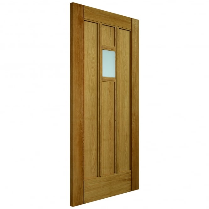 External Un-Finished Oak Therm-L Windermere Door With Obscure Glass