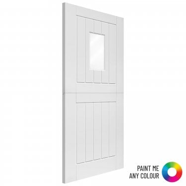 External White Fully Finished Stable 1L Solid Stable Door with Obscure Glass (EWPSTABLE1L)