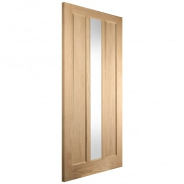 External White Oak Unfinished Knightsbridge Lexington 1L Door with Double Glazed Obscure Glass (LEX+DGO)