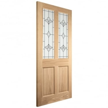 External White Oak Unfinished Knightsbridge Woodhouse 2L Door with Double Glazed Obscure Silkscreen Glass (THOR+DGP)