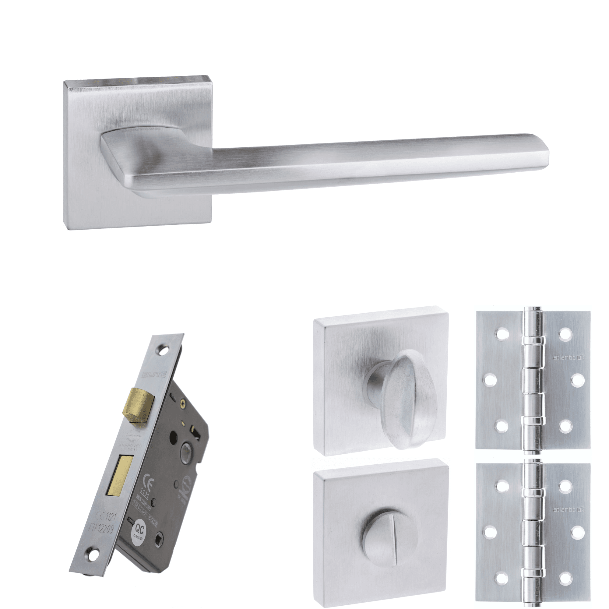 "Privacy Door Handles Lever Locking Aluminium Toilet 6/"" Bathroom Set 76mm Latch"