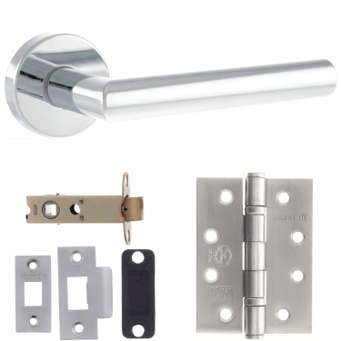 Forme Elle Designer Lever On Minimal Round Rose 3'' Fire Rated Latch Handle Pack, Polished Chrome (FMR236PC-3-FIRE-RATED-LATCH-PACK)