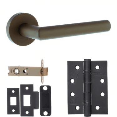Forme Elle Designer Lever On Minimal Round Rose 3'' Fire Rated Latch Handle Pack, Urban Dark Bronze (FMR236UDB-3-FIRE-RATED-LATCH-PACK)