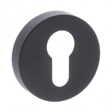 Forme Minimal Euro Escutcheon On Round Rose - Matt Black (FMREMB)
