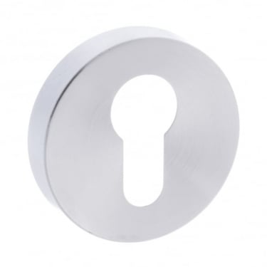 Forme Minimal Euro Escutcheon On Round Rose - Satin Chrome (FMRESC)