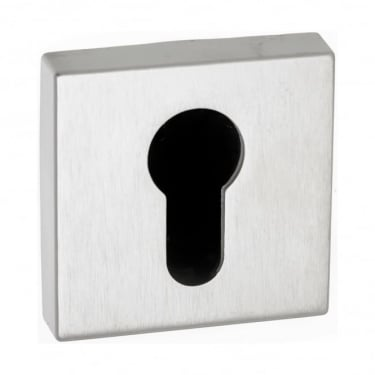 Forme Minimal Euro Escutcheon On Square Rose - Satin Chrome (FMSESC)