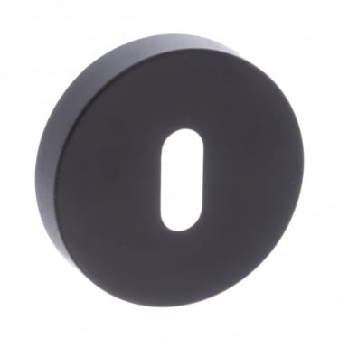 Forme Minimal Key Escutcheon On Round Rose - Matt Black (FMRKMB)