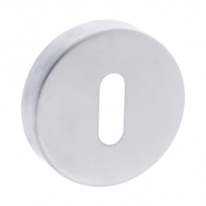 Atlantic Handles Forme Minimal Key Escutcheon On Round Rose - Satin Chrome (FMRKSC)