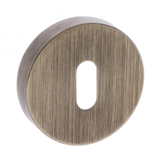 Atlantic Handles Forme Minimal Key Escutcheon On Round Rose - Yester Bronze (FMRKYB)