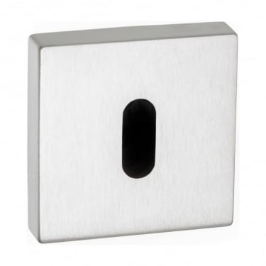 Forme Minimal Key Escutcheon On Square Rose - Satin Chrome (FMSKSC)