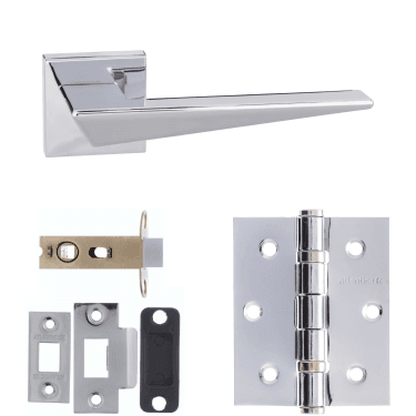 Forme Naxos Designer Lever On Minimal Square Rose 2.5'' Latch Handle Pack, Polished Chrome (FMS215PC-2.5-LATCH-PACK)