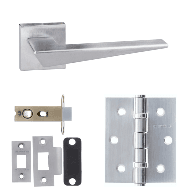 Forme Naxos Designer Lever On Minimal Square Rose 2.5'' Latch Handle Pack, Satin Chrome (FMS215SC-2.5-LATCH-PACK)
