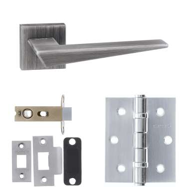 Forme Naxos Designer Lever On Minimal Square Rose 2.5'' Latch Handle Pack, Urban Graphite (FMS215UG-2.5-LATCH-PACK)