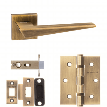 Forme Naxos Designer Lever On Minimal Square Rose 2.5'' Latch Handle Pack, Yester Bronze (FMS215YB-2.5-LATCH-PACK)