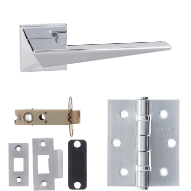 Forme Naxos Designer Lever On Minimal Square Rose 3'' Latch Handle Pack, Polished Chrome (FMS215PC-3-LATCH-PACK)