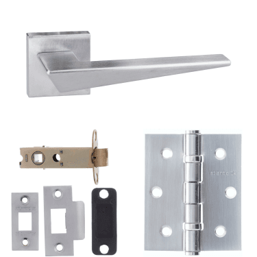 Forme Naxos Designer Lever On Minimal Square Rose 3'' Latch Handle Pack, Satin Chrome (FMS215SC-3-LATCH-PACK)