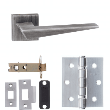 Forme Naxos Designer Lever On Minimal Square Rose 3'' Latch Handle Pack, Urban Graphite (FMS215UG-3-LATCH-PACK)