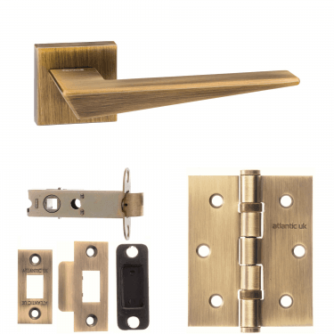 Forme Naxos Designer Lever On Minimal Square Rose 3'' Latch Handle Pack, Yester Bronze (FMS215YB-3-LATCH-PACK)