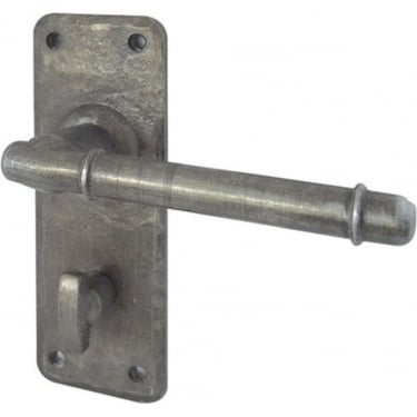 Belfry Antique Pewter Bathroom Lock On Backplate Handle (HF100B)