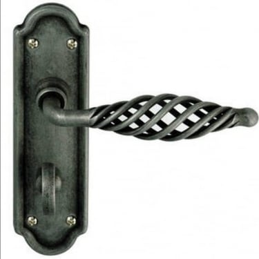 Cage Pewter Bathroom Lever On Backplate Handle (IRC4000B)