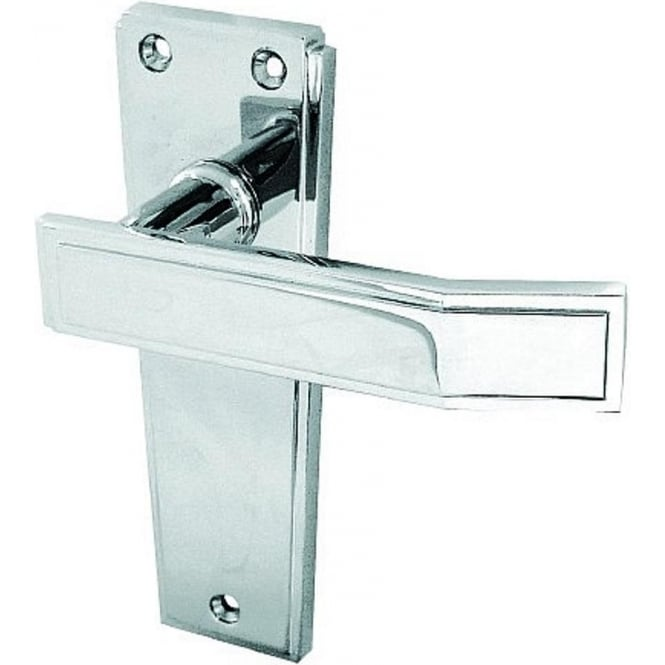 Frelan Hardware Deco Polished Chrome Lever Latch On Backplate Handle (JV254PC)