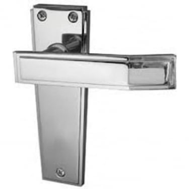 Deco Satin Chrome Lever Latch On Backplate Handle (JV254SC)