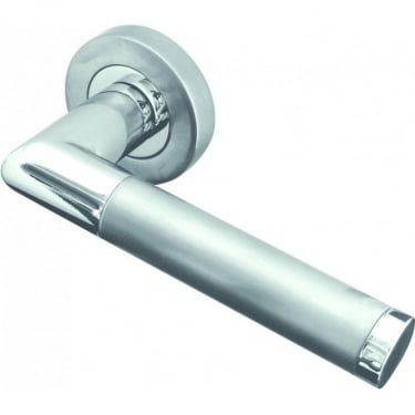 Designer Twin Finish Mitred Lever on Rose Handle (JV435PCSC)