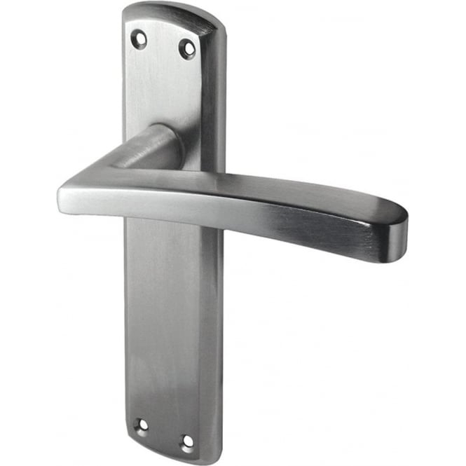 Frelan Hardware Genoa Satin Chrome Lever Latch On Backplate Handle (JV405SC)