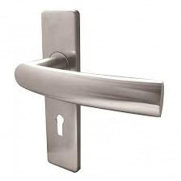 Luma Satin Stainless Steel Lever Lock On Backplate Handle (JSS681)