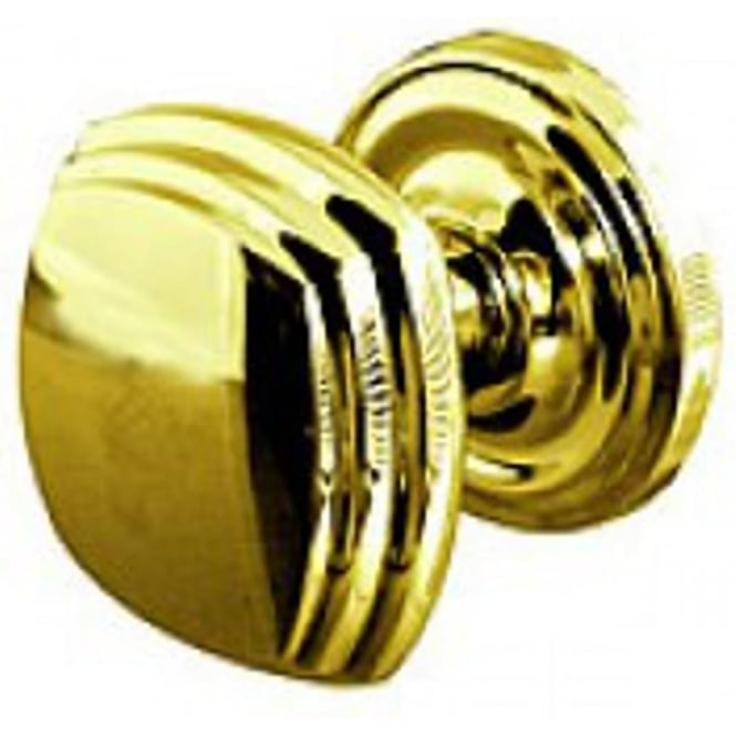 Frelan Hardware Polished Brass Mortice Knob On Round Rose (JV64PB)