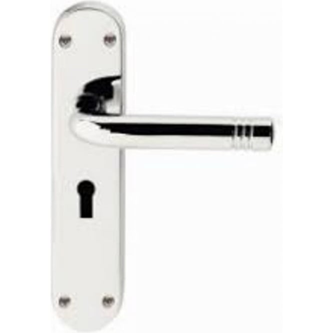 Frelan Hardware Porto Polished Chrome Lever Lock On Backplate Handle (JV660PC)