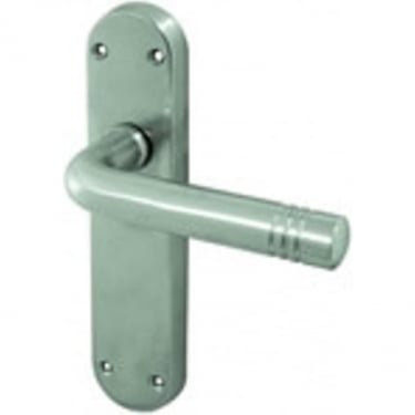Porto Satin Chrome Lever Latch On Backplate Handle (JV661SC)